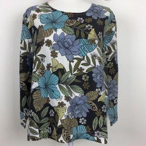 Hot Cotton L 3/4 sleeve scoop neck linen shirt 👚